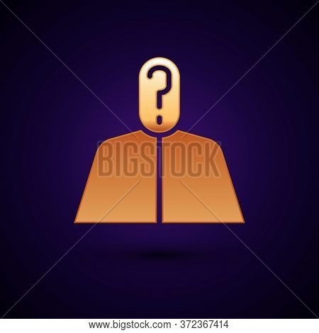 Gold Anonymous Man With Question Mark Icon Isolated On Black Background. Unknown User, Incognito Pro
