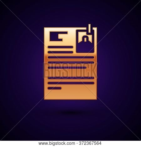 Gold Lawsuit Paper Icon Isolated On Black Background. Vector Illustration