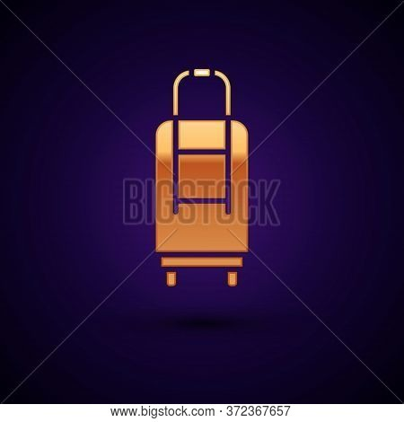 Gold Suitcase For Travel Icon Isolated On Black Background. Traveling Baggage Sign. Travel Luggage I