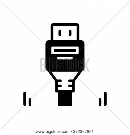 Black Solid Icon For Displayport Connector Usb Cable Technology Unplugged