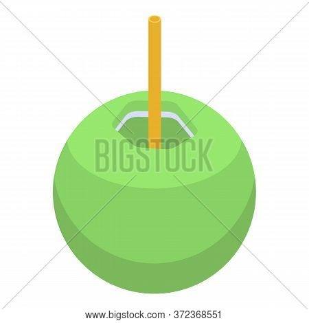 Green Coconut Cocktail Icon. Isometric Of Green Coconut Cocktail Vector Icon For Web Design Isolated