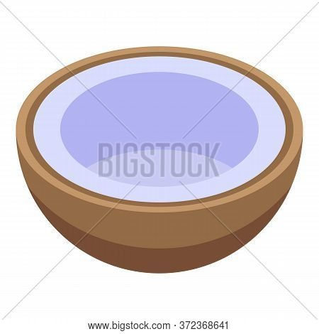 Half Cutted Coconut Icon. Isometric Of Half Cutted Coconut Vector Icon For Web Design Isolated On Wh