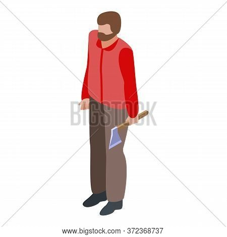 Lumberjack With Axe Icon. Isometric Of Lumberjack With Axe Vector Icon For Web Design Isolated On Wh