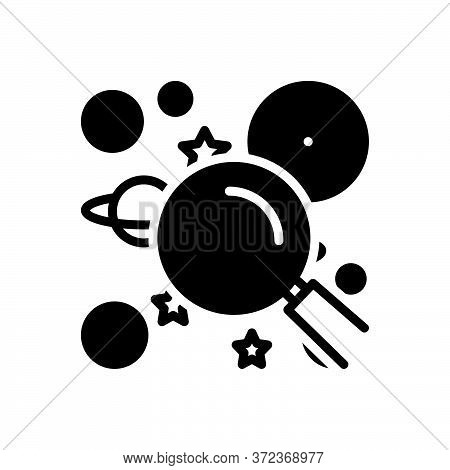 Black Solid Icon For Discoverable Adventure Discovery Spyglass Magnifying-glass