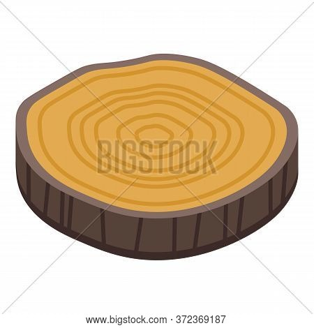 Slice Tree Stump Icon. Isometric Of Slice Tree Stump Vector Icon For Web Design Isolated On White Ba