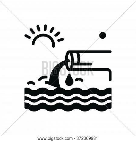 Black Solid Icon For Effluent Flow Stream Flow Sewage Canalization Sanitation Sewerage
