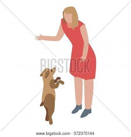 Woman Take Puppy Dog Icon. Isometric Of Woman Take Puppy Dog Vector Icon For Web Design Isolated On