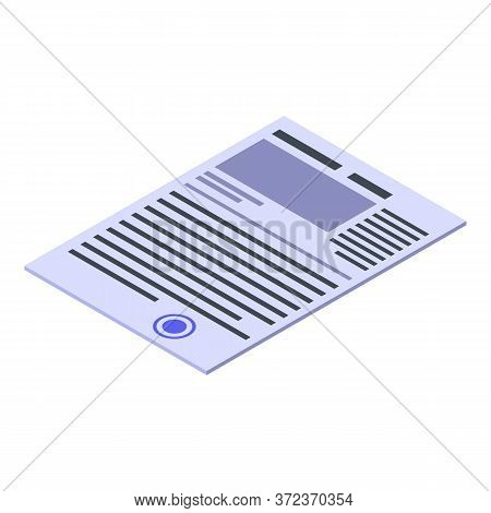 Realtor Contract Icon. Isometric Of Realtor Contract Vector Icon For Web Design Isolated On White Ba