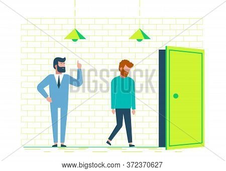 Angry oss dismisses employee. Concept of dismissal employees. Fired sad man. Dismissal, unemployment, jobless. Concept of dismissal employees. Business concept. Business people. Business background. Infographic business arrow shape template design. Busine