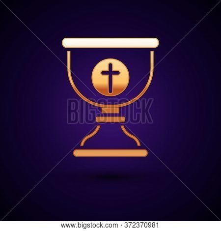 Gold Christian Chalice Icon Isolated On Black Background. Christianity Icon. Happy Easter. Vector Il