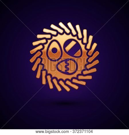 Gold Easter Egg In A Wicker Nest Icon Isolated On Black Background. Happy Easter. Vector Illustratio