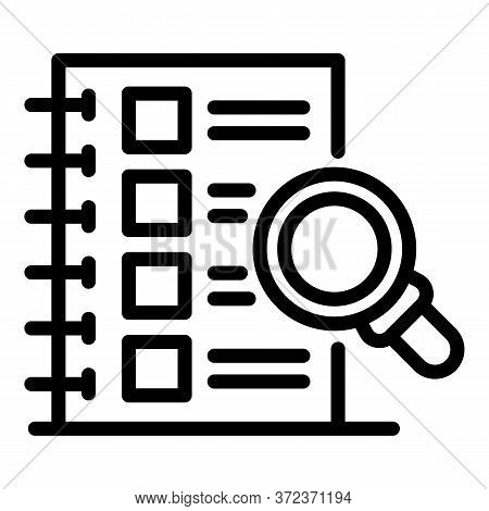 Tax Inspector Checklist Icon. Outline Tax Inspector Checklist Vector Icon For Web Design Isolated On