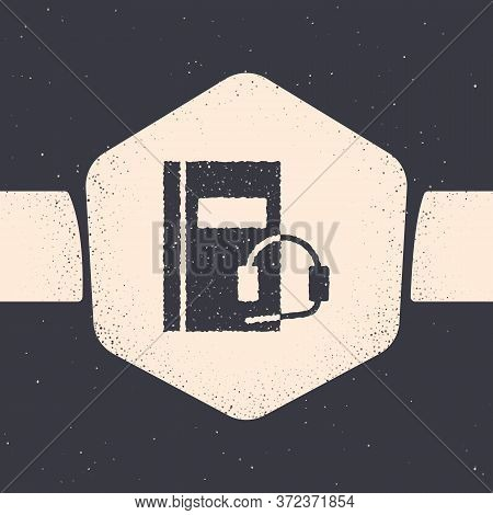 Grunge Audio Book Icon Isolated On Grey Background. Book With Headphones. Audio Guide Sign. Online L