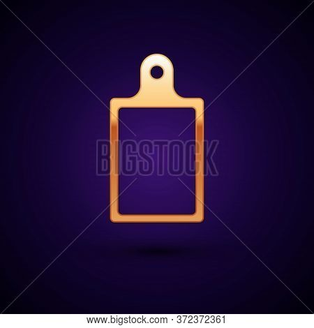 Gold Cutting Board Icon Isolated On Black Background. Chopping Board Symbol. Vector