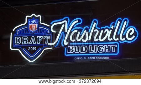 Nashville Neon Sign At A Bar On Broadway - Nashville, Usa - June 17, 2019