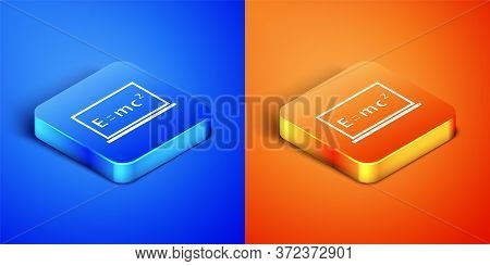 Isometric Math System Of Equation Solution On Chalkboard Icon Isolated On Blue And Orange Background