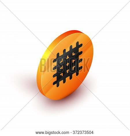 Isometric Cracker Biscuit Icon Isolated On White Background. Sweet Cookie. Orange Circle Button. Vec