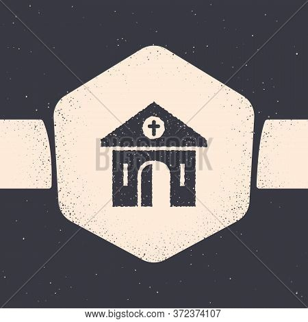 Grunge Church Building Icon Isolated On Grey Background. Christian Church. Religion Of Church. Monoc