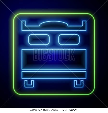 Glowing Neon Bedroom Icon Isolated On Blue Background. Wedding, Love, Marriage Symbol. Bedroom Creat