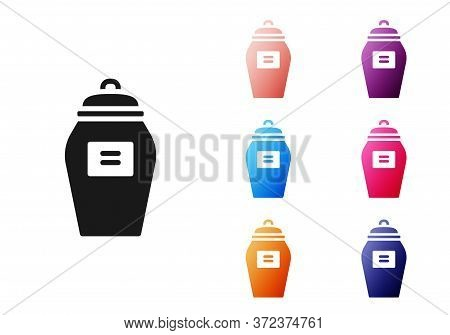 Black Funeral Urn Icon Isolated On White Background. Cremation And Burial Containers, Columbarium Va