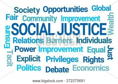 Social Justice Word Cloud on White Background