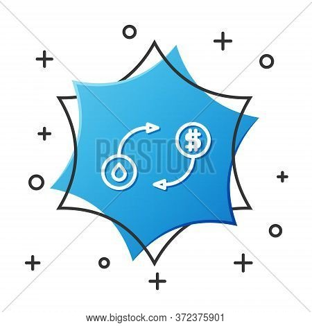 White Line Oil Exchange, Water Transfer, Convert Icon Isolated On White Background. Blue Hexagon But