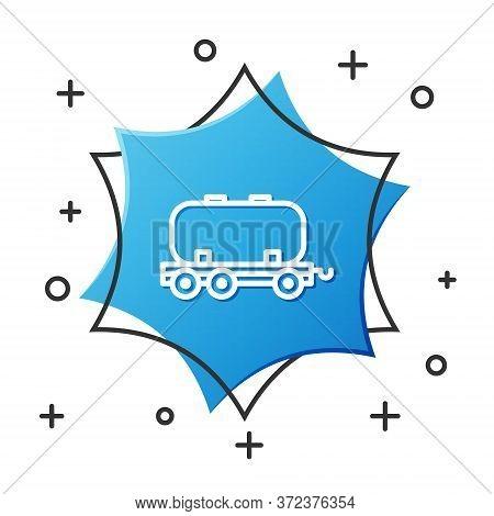 White Line Oil Railway Cistern Icon Isolated On White Background. Train Oil Tank On Railway Car. Rai