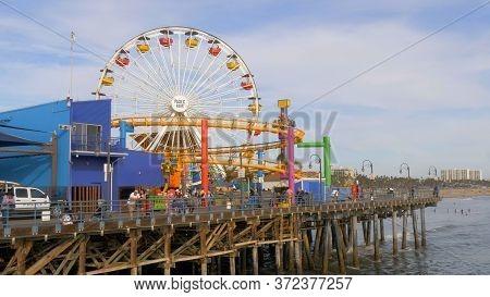 Ferris Wheel At Santa Monica Pier In Los Angeles - Los Angeles, United States - March 29, 2019