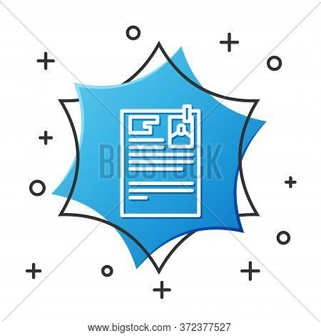 White Line Lawsuit Paper Icon Isolated On White Background. Blue Hexagon Button. Vector Illustration