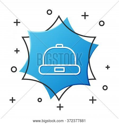 White Line Beanie Hat Icon Isolated On White Background. Blue Hexagon Button. Vector Illustration