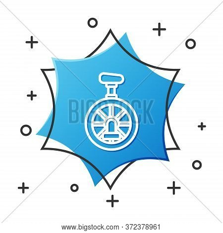 White Line Unicycle Or One Wheel Bicycle Icon Isolated On White Background. Monowheel Bicycle. Blue