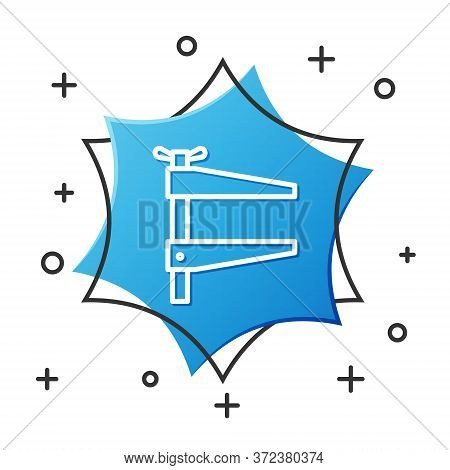 White Line Clamp Tool Icon Isolated On White Background. Locksmith Tool. Blue Hexagon Button. Vector