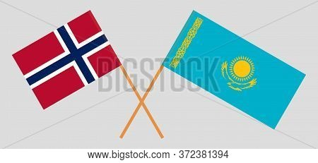 Crossed Flags Of Kazakhstan And Norway. Official Colors. Correct Proportion. Vector Illustration