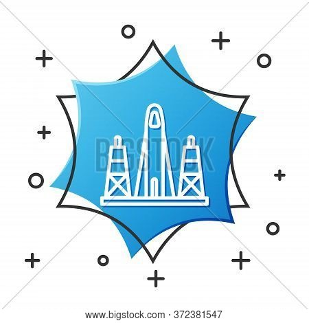 White Line Rocket Launch From The Spaceport Icon Isolated On White Background. Launch Rocket In Spac