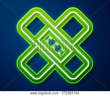 Glowing Neon Line Crossed Bandage Plaster Icon Isolated On Blue Background. Medical Plaster, Adhesiv