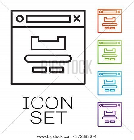 Black Line Browser Window Icon Isolated On White Background. Set Icons Colorful. Vector Illustration