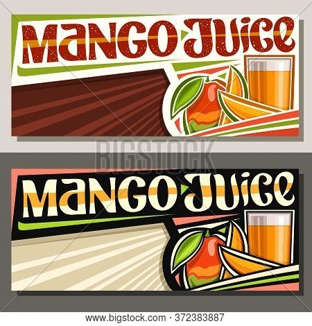 Vector Banners For Mango Juice With Copyspace, Horizontal Layouts With Illustration Of Fruit Drink I