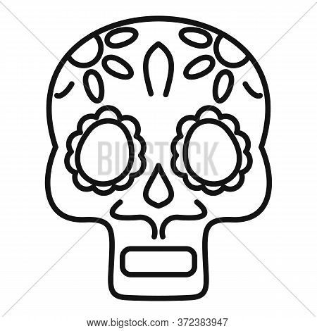 Mexican Skull Icon. Outline Mexican Skull Vector Icon For Web Design Isolated On White Background