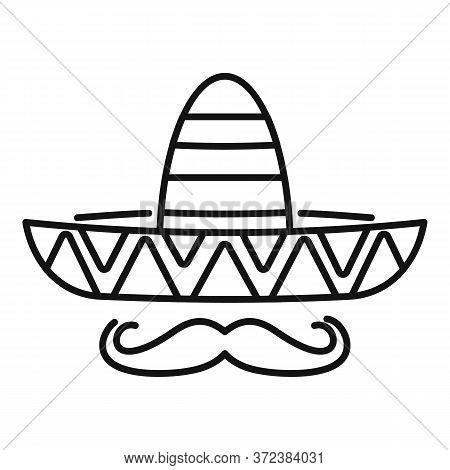 Mexican Sombrero Mustache Icon. Outline Mexican Sombrero Mustache Vector Icon For Web Design Isolate