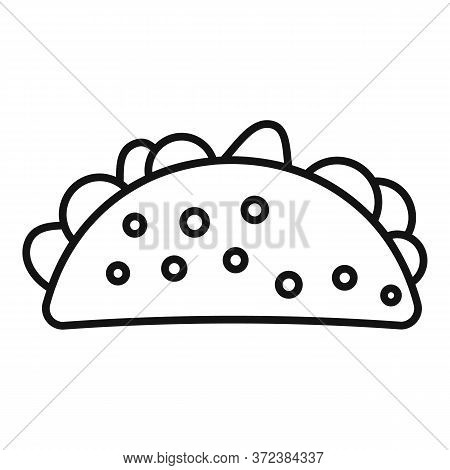 Mexican Tacos Icon. Outline Mexican Tacos Vector Icon For Web Design Isolated On White Background