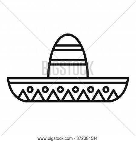 Mexican Sombrero Icon. Outline Mexican Sombrero Vector Icon For Web Design Isolated On White Backgro
