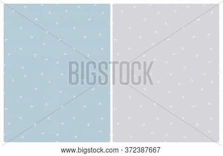 Cute Abstract Geometric Seamless Vector Pattern. White Hand Drawn Irregular Arcs Isolated On A Paste