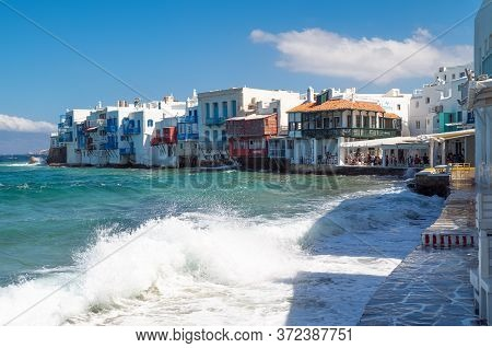 Mykonos, Greece - July 6, 2017:  The Houses Of  Little Venice Area Of The Chora Old Village Seafront