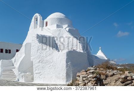 Greece, Mykonos, Chora, The Panagia Paraportiani Orthodox Church In The Kastro Seafront