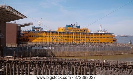 Staten Island Ferry Between Manhattan And Staten Island - New York City, United States - April 2, 20