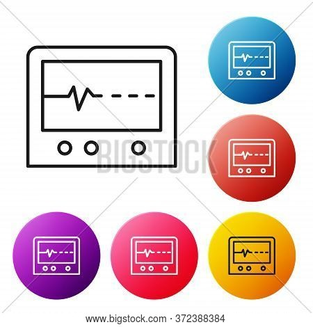 Black Line Beat Dead In Monitor Icon Isolated On White Background. Ecg Showing Death. Set Icons Colo
