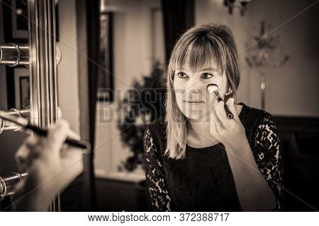 Woman Looking Into A Vintage Mirror At Herself And Use Cosmetic Vanity Make Up Accessories, Makeup D