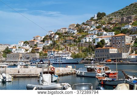 Hydra, Greece -  March 17, 2018: The Village Seen From The Harbor