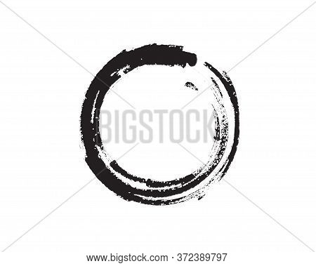 Black Zen Enso Symbol Original Vector Design. Painting Enso Zen Circle Chinese Brush Style Illustrat