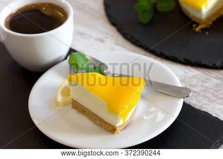 Creamy Cheesecake, Delicious Lemon Cheesecake And Coffee